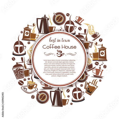 Wall mural Coffee hot drink poster for cafe and shop design