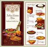 Indian cuisine restaurant menu template design - 209652832