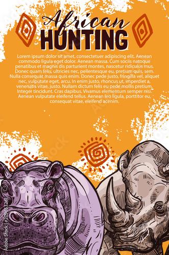 African safari hunting banner with wild animal