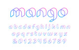 3D linear font. Vector alphabet with latin letters and numbers. - 209658438
