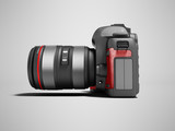 Modern gray zoom camera with red leather inserts on the side 3d render on gray background with shadow - 209658495