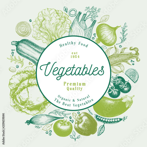 Vegetables hand drawn vector illustration. Retro engraved style frame design. Can be use for menu, label, packaging, farm market products.