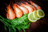 shrimps for dinner on stone plate. Food background - 209660452