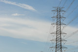 Hight Voltage Pole and The Blue Sky with Clouds. - 209663831