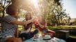 Girls cheering beers at picnic
