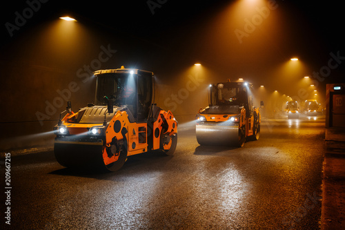 Fridge magnet asphalt paving in a tunnel