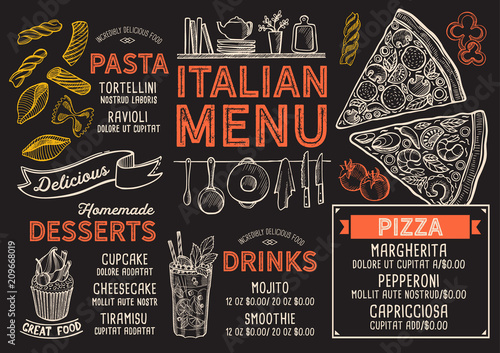 Pizza restaurant menu. Vector food flyer for bar and cafe. Design template with vintage hand-drawn illustrations. - 209668019
