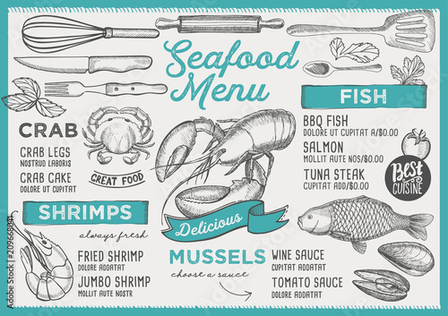 Fototapeta Seafood restaurant menu. Vector food flyer for bar and cafe. Design template with vintage hand-drawn illustrations.