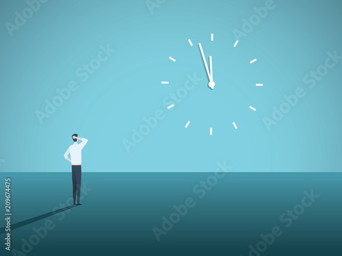 Fototapeta Business deadline vector concept with businessman staring at a clock on the wall. Symbol of stress at work, management pressure, burnout.