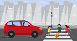 Kids crossing road with red car on red traffic light. Children play with ball on road Vector flat illustration. Danger situation on road. Accident with child