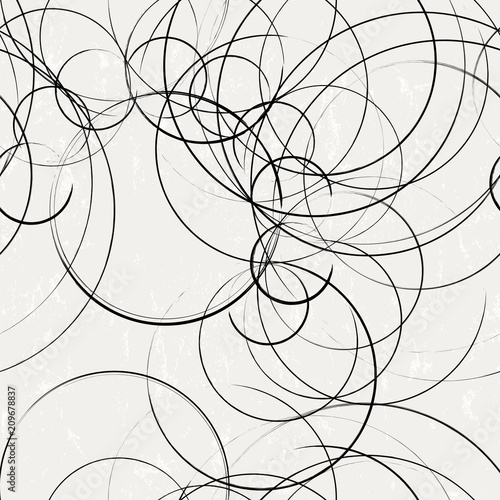 Aluminium Abstract met Penseelstreken seamless abstract background pattern, with circles, strokes and splashes, black and white