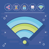wifi with digital marketing related icons around over blue background, vector illustration - 209684601