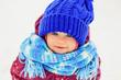 Quadro Funny little girl in winter park.