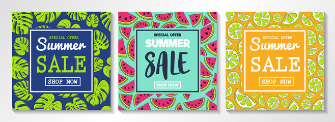 Collection of flyers for Summer Sales. Concept with watermelons, citrus fruits and tropical leaves. Vector. © Karolina