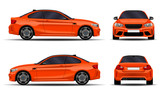 realistic car. sport coupe. front view; side view; back view.