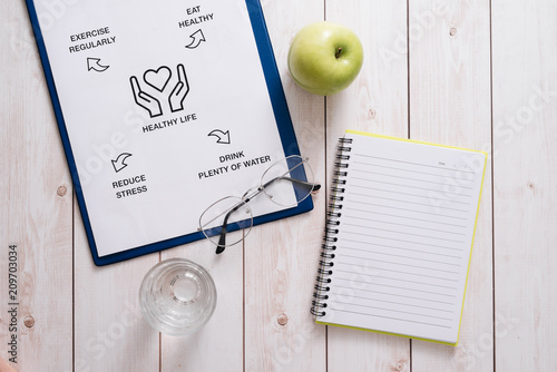 Foto Murales Top View Of A Meal Plan Concept On Wooden Desk