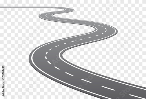 Vector Curved road with white lines - 209705459