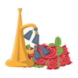 Anzac day design with trumpet and poppy flowers over white background, vector illustration - 209706263