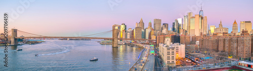 Aerial view of Manhattan skyline at sunset, New York City - 209706459