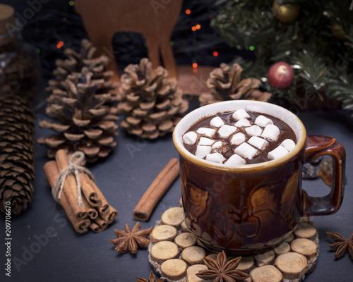 Fotobehang Chocolade hot chocolate with marshmallow in a brown ceramic mug
