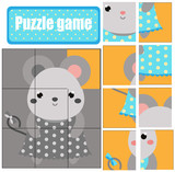 Cute mouse puzzle for toddlers. Match pieces and complete the picture. Educational game for children. Animals theme