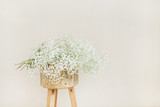 White gypsophila flowers bouquet on wooden backless stool at pale pastel beige background. Minimal festive holiday concept. - 209708004