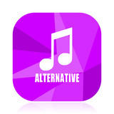 Alternative music violet square vector web icon. Internet design and webdesign button in eps 10. Mobile application sign on white background. - 209710009