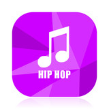 Hip hop violet square vector web icon. Internet design and webdesign button in eps 10. Mobile application sign on white background. - 209710030