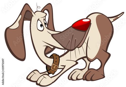 Aluminium Babykamer Illustration of a Cute Hunting Dog. Cartoon Character