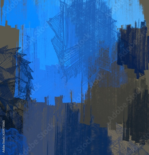 Abstract painting on canvas. Hand made art. Colorful texture. Modern artwork. Strokes of fat paint. Brushstrokes. Contemporary art. Artistic background image. - 209713065