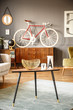 Vintage interior with table, bicycle