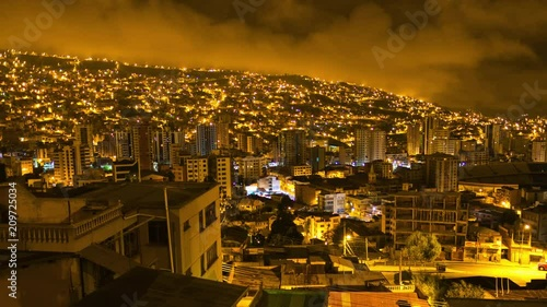 Fridge magnet Zoom out, night to day, sunrise timelapse of the city of La Paz, Bolivia