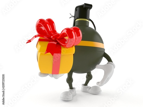 Hand grenade character holding gift