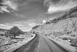 Black and white picture of a picturesque road, Capitol Reef National Park, Utah, USA. - 209727834