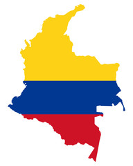 National flag of Colombia in the country silhouette. Colombian state ensign. Horizontal tricolour of yellow, blue and red. Republic in South America. Isolated illustration on white background. Vector