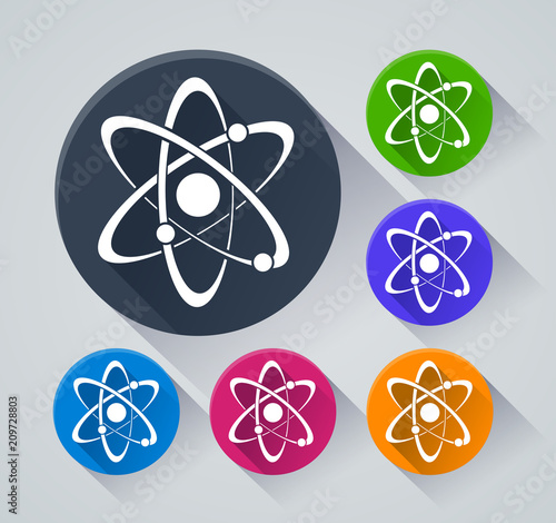 atom circle icons with shadow