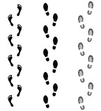 Set symbols footprints humans. Human foots trails. Black signs isolated on white background. Vector illustration - 209730692