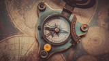 Nautical Compass On World Map - 209734264