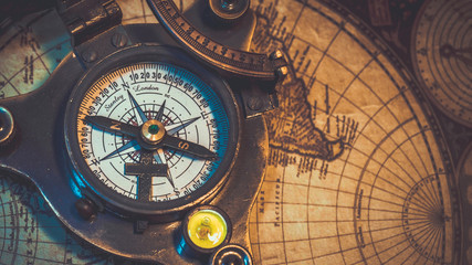 Nautical Compass On World Map