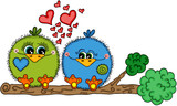 Cute love bird couple sitting on tree branch - 209734800