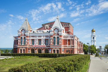 The building of the red brick Drama theatre Gorky's name in Samara, Russia. On a Sunny summer day. 17 June 2018