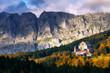 Leinwanddruck Bild - Urkiola sanctuary in Autumn