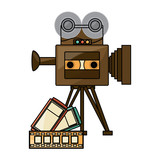 retro video camera and films over white background, colorful design. vector illustration - 209737887