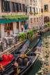 view of the canal and old houses in the beautiful city of Venice in Italy