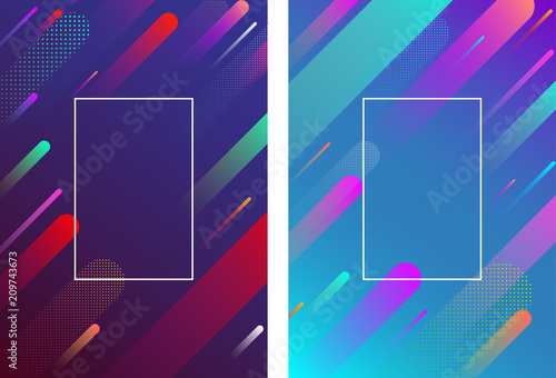 Colorful backgrounds with frame and geometric pattern.
