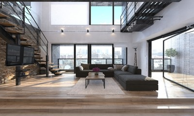 Modern living room interior in a penthouse