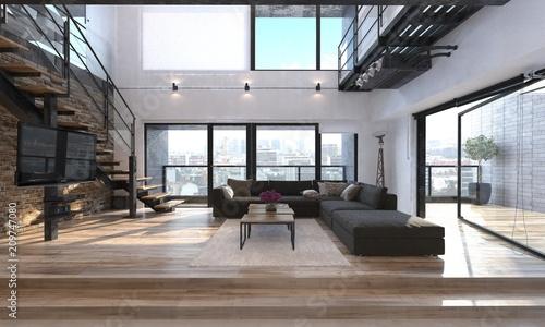 Nowoczesne wnętrze salonu w penthouse