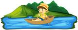 A Boy Paddling Boat - 209752468