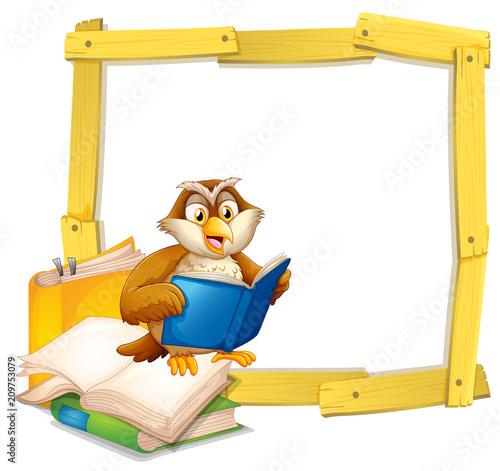 Fotobehang Uilen cartoon An Owl Reading Book Template