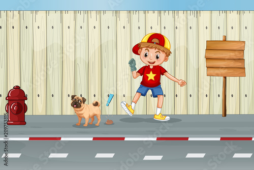 A Good Kid Cleaning Dog Poo
